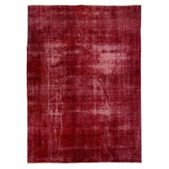7.8x10.8 ft Distressed Vintage Handmade Turkish Wool Rug Over-dyed in Ruby Red