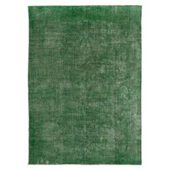 Abstract Distressed Vintage Rug Overdyed in Green Color