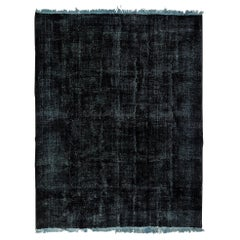 Abstract, Distressed Rug Overdyed in Black Color
