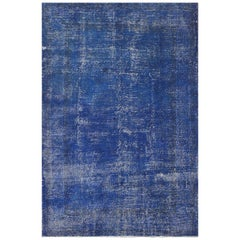Abstract, Distressed Rug Overdyed in Dark Blue Color