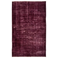 Abstract, Distressed Rug Overdyed in Maroon Color