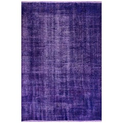 Abstract, Distressed Rug Overdyed in Purple Color