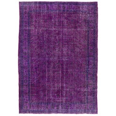 Abstract Distressed Turkish Rug in Purple Color