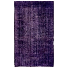 Abstract, Distressed Vintage Handmade Rug Re-Dyed in Dark Purple Color