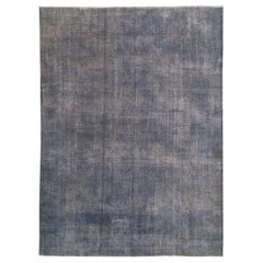 Abstract, Distressed Vintage Rug Overdyed in Gray-Blue Color