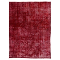 Abstract Distressed Vintage Rug Overdyed in Solid Red Color