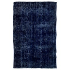 Abstract, Distressed Vintage Turkish Wool Rug Over-dyed in Navy Blue