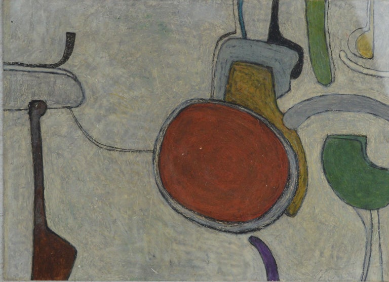 Wonderful abstract drawing by Martin Grose.  Mixed medium-gouache, wax crayon on paper  Initialed and dated 1965 bottom right  In the style of the very fashionable artist William Scott  The brighter triangular section to top right of the picture is
