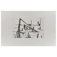 Abstract Etching by Unknown Artist, Holland, circa 1980