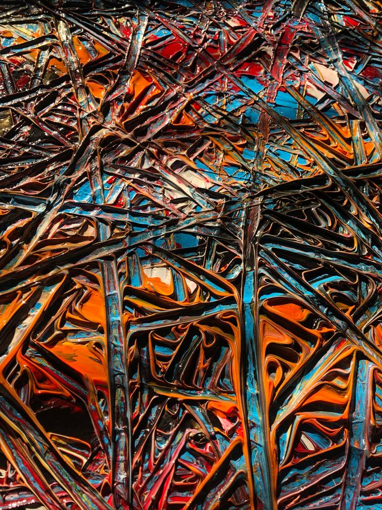Abstract Expressionism Acrylic Painting Deeply Textured, Orange Blue Black For Sale 3