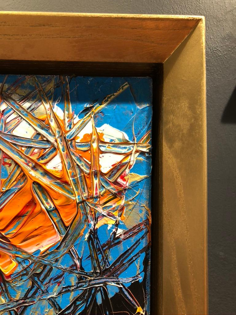 Abstract Expressionism Acrylic Painting Deeply Textured, Orange Blue Black For Sale 4