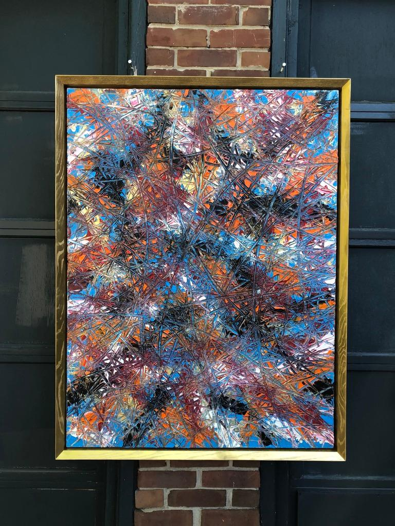 Canadian Abstract Expressionism Acrylic Painting Deeply Textured, Orange Blue Black For Sale