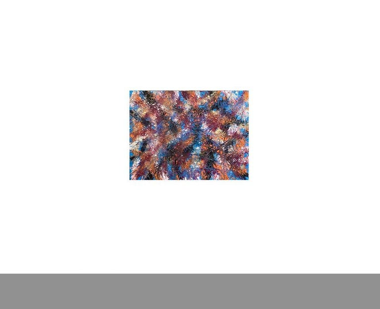 Painted Abstract Expressionism Acrylic Painting Deeply Textured, Orange Blue Black For Sale