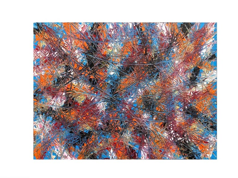 Abstract Expressionism Acrylic Painting Deeply Textured, Orange Blue Black In New Condition For Sale In Toronto, Ontario