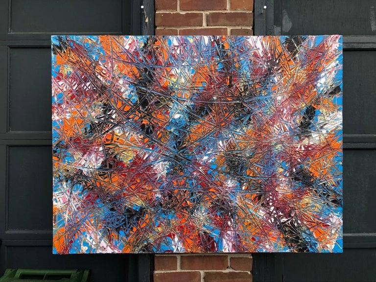 Contemporary Abstract Expressionism Acrylic Painting Deeply Textured, Orange Blue Black For Sale