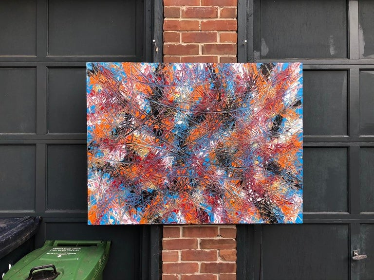 Abstract Expressionism Acrylic Painting Deeply Textured, Orange Blue Black For Sale 1
