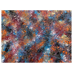 Abstract Expressionism Acrylic Painting Deeply Textured, Orange Blue Black
