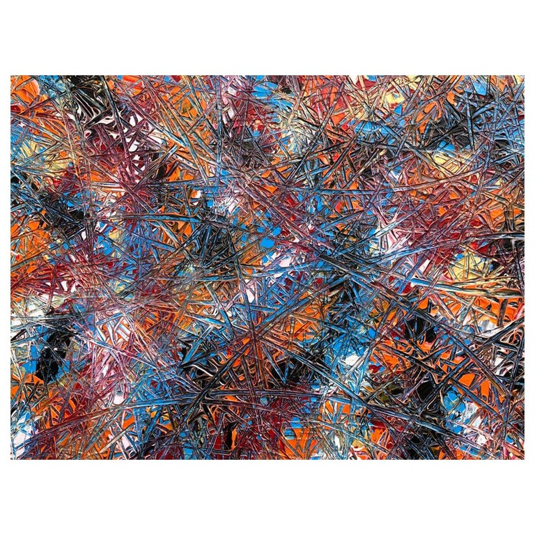 Abstract Expressionism Acrylic Painting Deeply Textured, Orange Blue Black For Sale