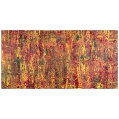 Abstract Expressionist Acrylic Painting On Canvas Gold Wood Frame Red Yellow