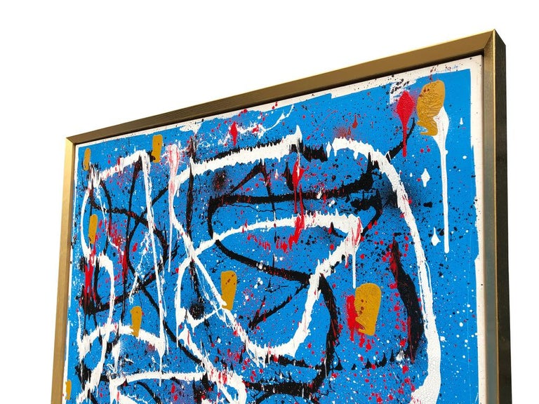 Abstract Expressionist Acrylic Painting on Canvas with Gold Wood Frame For Sale 5