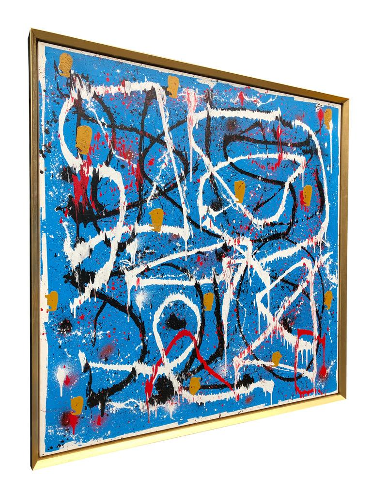 Hand-Painted Abstract Expressionist Acrylic Painting on Canvas with Gold Wood Frame For Sale