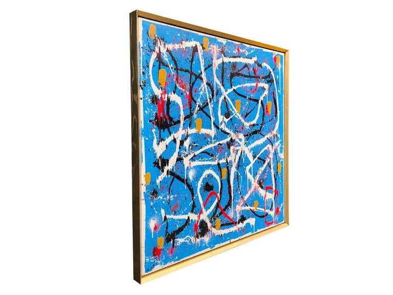 Abstract Expressionist Acrylic Painting on Canvas with Gold Wood Frame In New Condition For Sale In Toronto, Ontario
