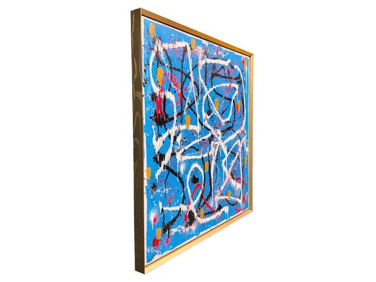 Contemporary Abstract Expressionist Acrylic Painting on Canvas with Gold Wood Frame For Sale