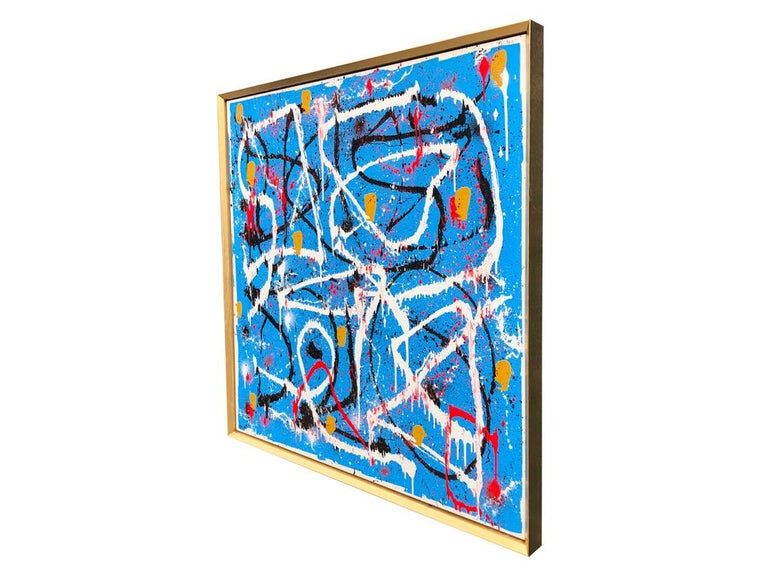 Abstract Expressionist Acrylic Painting on Canvas with Gold Wood Frame For Sale 1