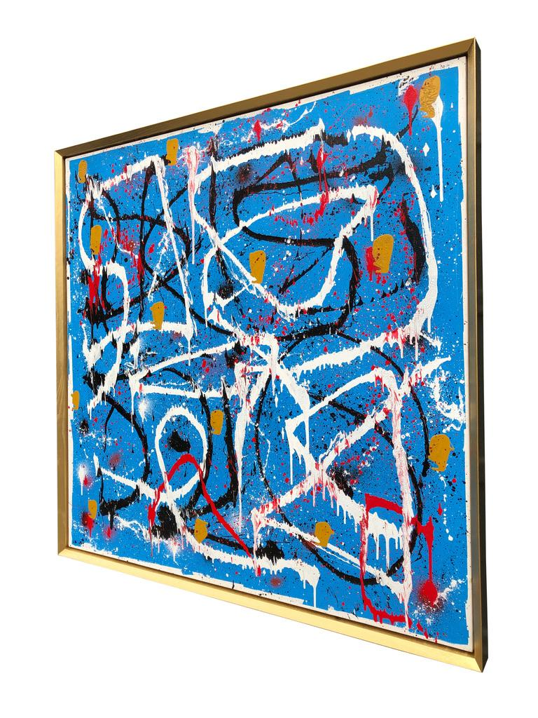 Abstract Expressionist Acrylic Painting on Canvas with Gold Wood Frame For Sale 2