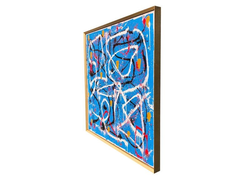 Abstract Expressionist Acrylic Painting on Canvas with Gold Wood Frame For Sale 3