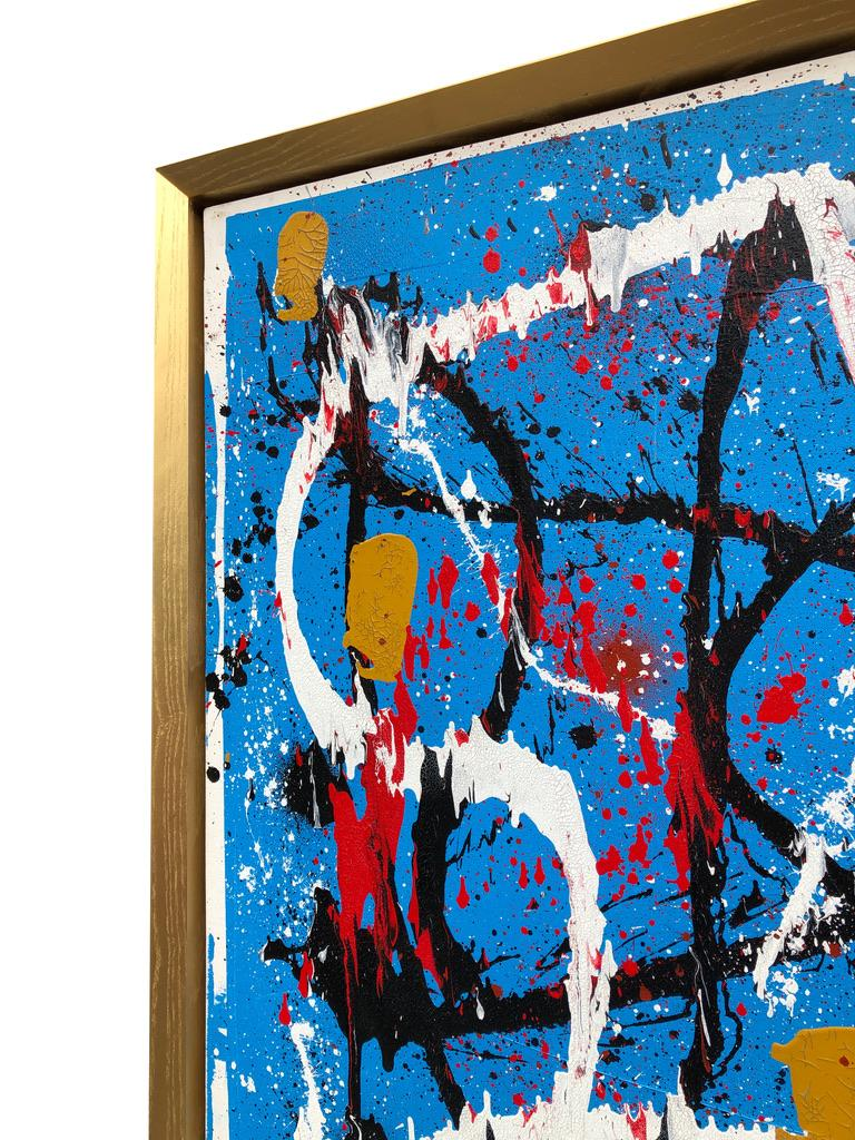 Abstract Expressionist Acrylic Painting on Canvas with Gold Wood Frame For Sale 4