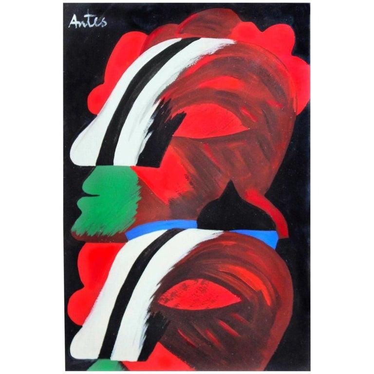 Modern Abstract Expressionist Art informel Ohne Titel after Horst Antes 1965 For Sale