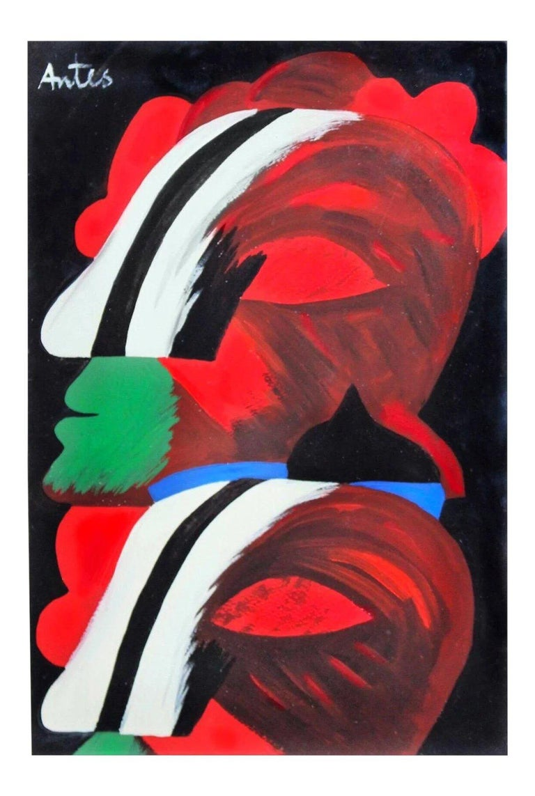 Abstract Expressionist Art informel Ohne Titel after Horst Antes 1965 In Good Condition For Sale In Brooklyn, NY