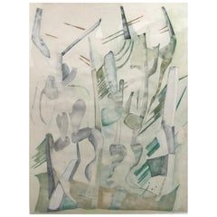 Abstract Expressionist Cactus Desert Watercolor on Paper, J. Toor, 1973