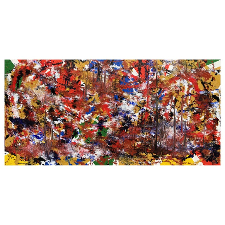 Abstract Expressionist Fine Art Acrylic Painting Red Green Black Blue For Sale