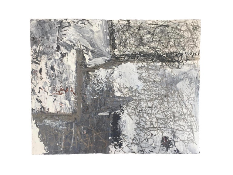 Marcus Sisler is an abstract expressionist painter based in Chicago, Illinois. His work embodies a tumultuous emotional struggle, utilizing the process of creation as a therapeutic practice. 'New Low' - Acrylic paint, graphite, and charcoal on