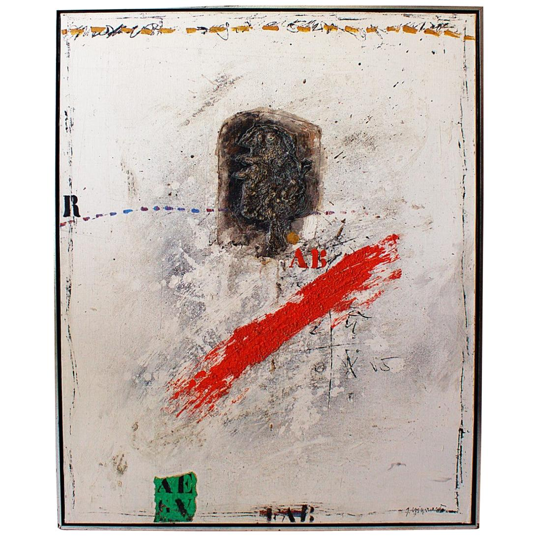 Abstract Expressionist Oil on Canvas, James Coignard, France, 1984