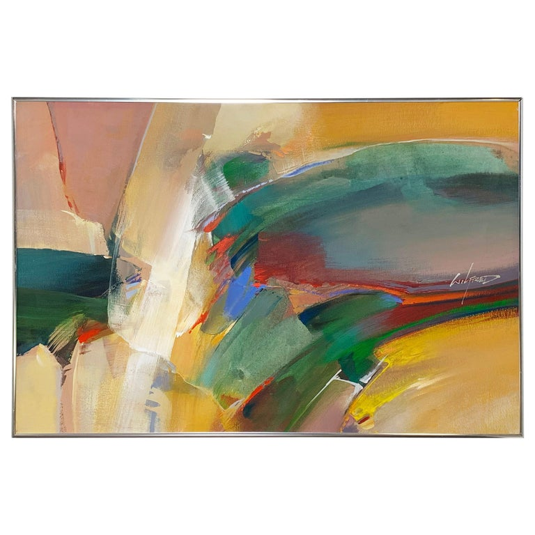 Abstract Expressionist Painting by Wilfred Lang, Ca. 1970s For Sale