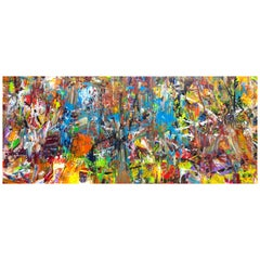 Abstract Expressionist Painting with Vivid Colors Orange Blue Red Green White