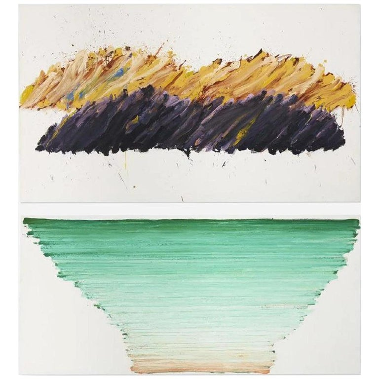 Abstract Expressionist Seascape Diptych by Vera Klement, Oil and Encaustic, 1978 For Sale