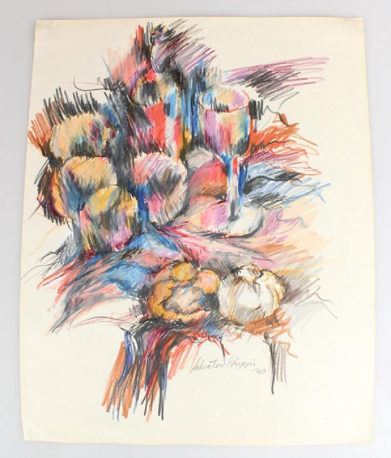 American Abstract Expressionist Still Life Drawing on Paper by Salvatore Grippi, 1960s For Sale