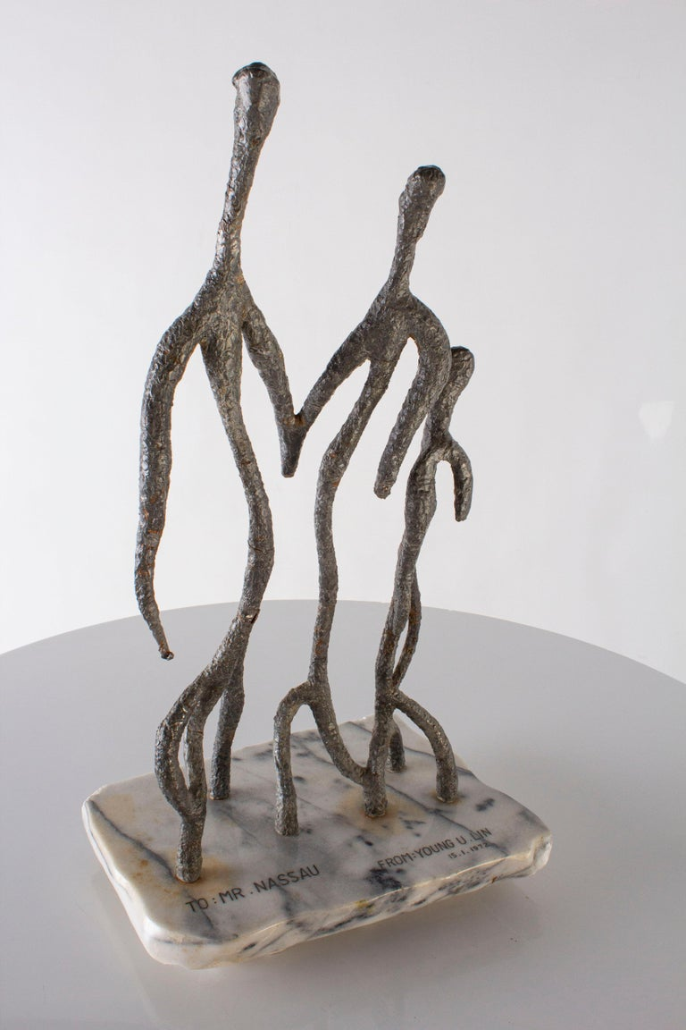 Abstract family sculpture.