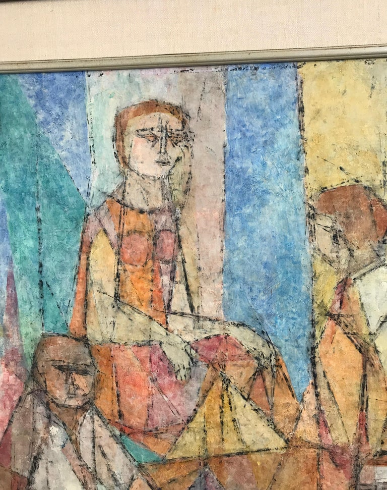 Abstract Figural Casein on Panel by Hildegarde Haas, Titled Picnic In Good Condition For Sale In San Francisco, CA