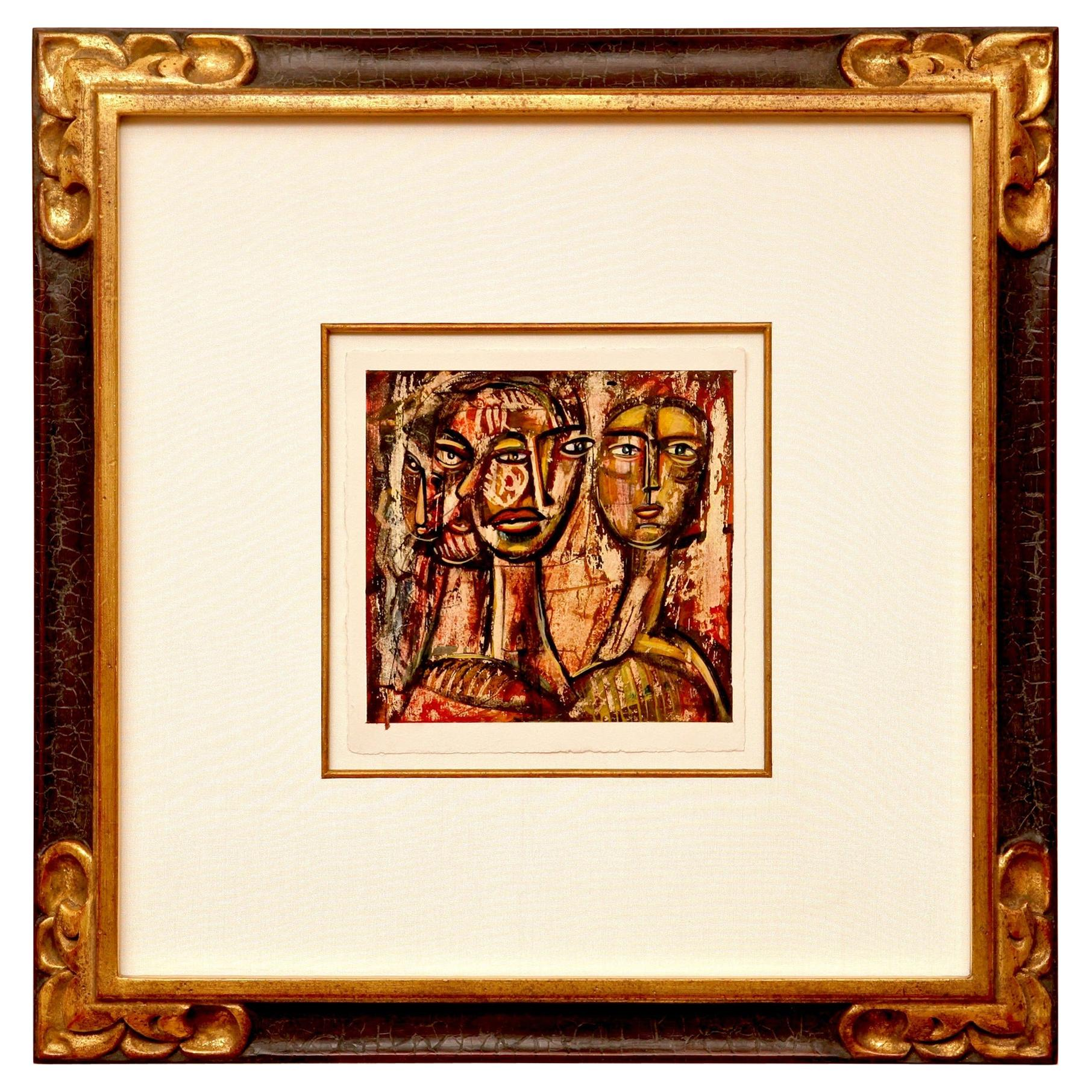 Abstract Figural Cubist Painting with Picasso Like Faces