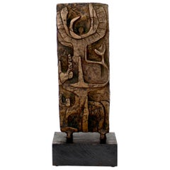 Abstract Figurative Bronze Sculpture on Black Wood Mount, c 1970
