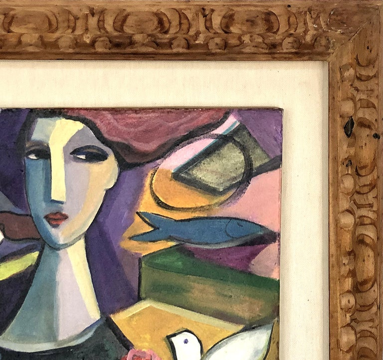 Modern Abstract Figurative Cubist Painting, Newly Framed For Sale