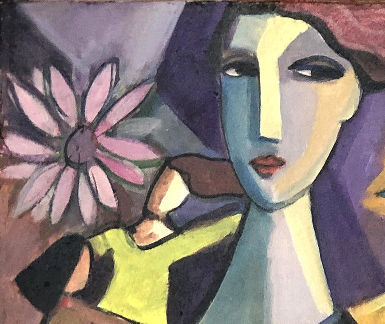 Abstract Figurative Cubist Painting, Newly Framed In Good Condition For Sale In Miami, FL