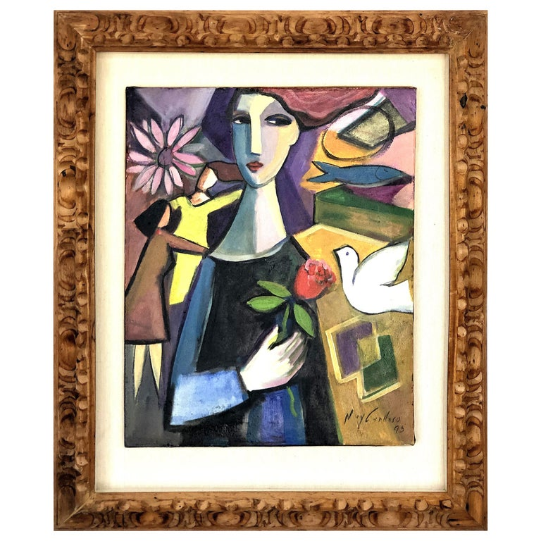 Abstract Figurative Cubist Painting, Newly Framed For Sale