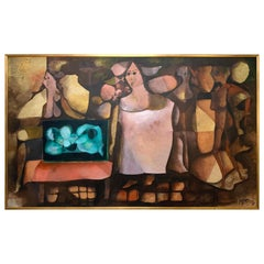 Abstract Figurative Oil by Uruguayan Artist Carlos Perez Franco