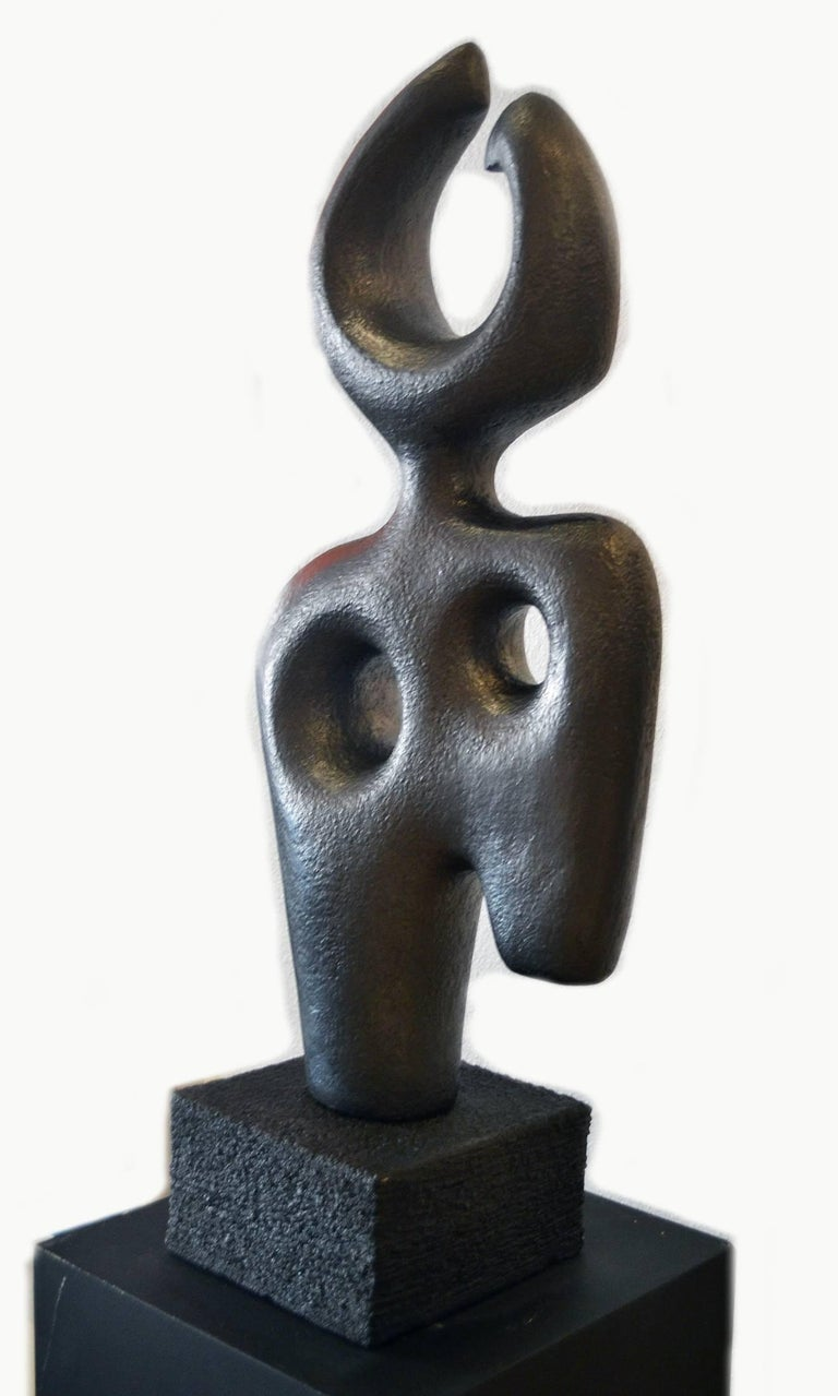 Striking and elegant are but a few adjectives that describe this limited edition abstract figurative sculpture by Canadian artist Birgit Piskor, whose praises continue to be sung by an ever-growing list of collectors. 